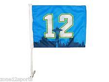 "Seattle Seahawks 12TH MAN Dual Sided Window Car Flag w/ Space Needle 15""x11"""