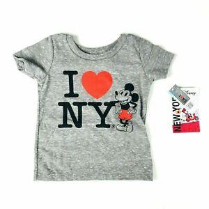 Disney Store Baby Grey Short Sleeve Soft Knit Mickey I Love NY T Shirt 0-6 MO