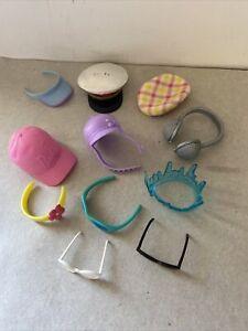 Barbie Doll Fashion Hats Pilot Beach Glasses Beanie Pink Cap Headset Riding hat