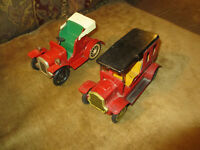 VINTAGE 1950s 60s ERA JAPAN TIN FRICTION MOTOR EARLY 1900s STYLE 2 TOY AUTO CARS