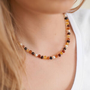 Pearls Necklace Amber Necklace Natural Amber Pearls Beads Beaded Necklace Gift