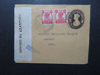 India 1941 Uprated 1.5a Stationery to USA / Censored DHC 77 - Z10806