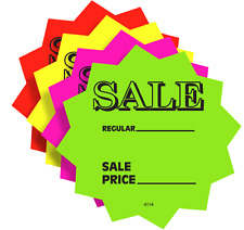 "100 4"" SALE Price Solar Star Burst Neon Fluorescent Retail Signs 25 Each Color"