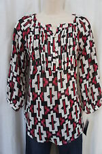 Style & co Petite Blouse Sz PM White Black Multi Step Tile 3/4 Sleeve Casual Top