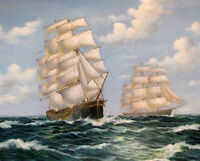 Dream-art Oil painting big sail boats on ocean seascape canvas hand painted art