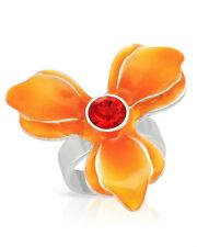NEW PILGRIM SKANDERBORG, DENMARK Crystal Adjustable Ring w/ Orange Enamel
