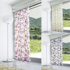 Lucille Floral Flock Print Voile Curtain Panel - Slot Top - Voile Net Curtains