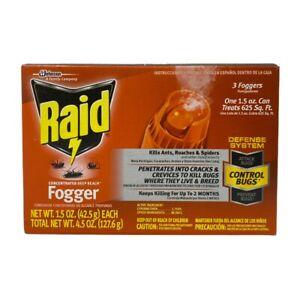 Raid Concentrated Deep Reach Fogger Ants, Roaches, Spiders, 3 x 1.5 oz Cans/Box