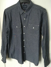 Lucky Brand Men's Extra Large Shirt Long Sleeve Navy Blue Chambray