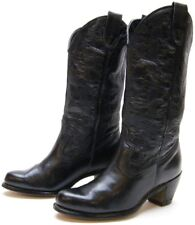WOMENS VINTAGE BLACK LEATHER STACKED HEEL COWBOY WESTERN BOOTS SZ 6 M 6M