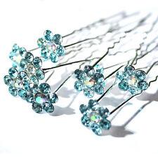 10pcs Cristal Diamantes de imitación Boda Novia Pasador con flor horquilla PIN