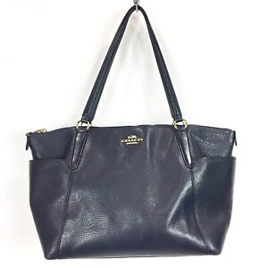 Coach Ava Tote Navy Blue Pebble Leather Shoulder Bag Purse F37216