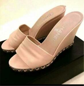 Auth CHANEL CC Chain Mule Wedge Sandals Size36.5 Beige Pink Used from Japan F/S