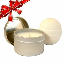 Soy Candle & Luxury Fizzy Bath Bomb 2 Piece Set (Rose Petals)