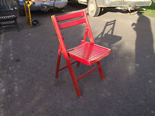 wooden folding chair, red