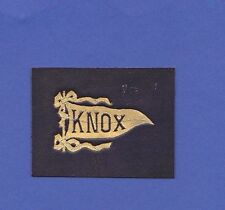 c1910s L21 tobacco / cigarette leather Knox University pennant #1 Nice!