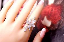 3D butterfly leaf rings silver UK