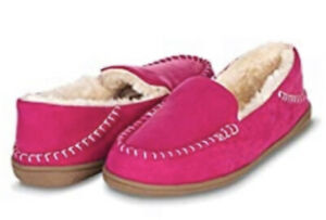 Floopi Indoor/Outdoor Faux Fur Lined Basic Moccasins Slipper W/Memory Foam Size8