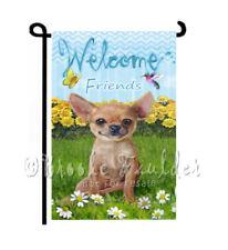 Chihuahua dog Garden Flag Welcome friends decorative Lawn Art Summer yard Decor