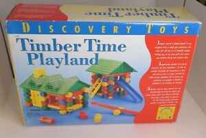 Discovery Toys TIMBER TIME PLAYLAND Wooden Log Building Set 130 pc Incomplete
