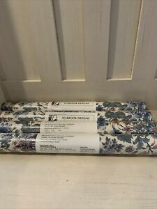 NEW LOT 4 PRE-PASTED SEABROOK DESIGNS FLORAL WALLPAPER VINYL   DOUBLE ROLL