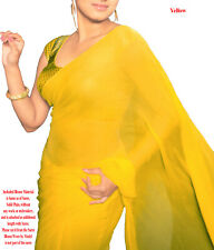 Pure Georgette Saree Sari Solid Plain Colour with Blouse Material Yellow