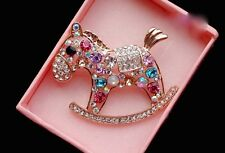 Gold Plated Multi Color  Crystal Rhinestone Horse Brooch Pin C042