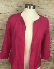 Chico's Travelers Womens Jacket Pink Medium Sz 1 Textured Open Front Lined
