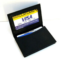 Black Genuine Leather Mens Bifold Wallet ID Credit Card Holder