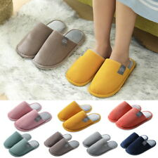 Men Women Slippers Slip On Plush Soft Winter Warm Ladies Home Indoor Shoes UK