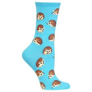 Hedgehogs Hot Sox Women's Crew Socks Lt Blue New Novelty Exotic Prickly Fashion