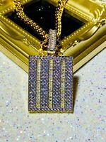 Mens Iced 8mm Miami Cuban Chain 14k Baguette Dog Tag Gold Diamond Ice Pendant
