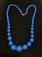 Vintage Estate Gold Tone Blue Black Speckled Hand Knotted Acrylic Bead Necklace