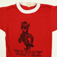 Vtg 70s NC State Wolf Pack T-Shirt Youth size SMALL Single Stitch Red NCSU