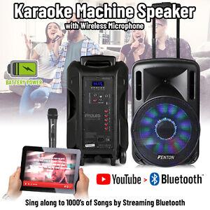 "FT Portable Bluetooth Karaoke Machine PA Speaker 700W 12"" LED Light Wireless Mic"