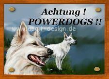 weißer Schäferhund    / Türschild / Warnschild
