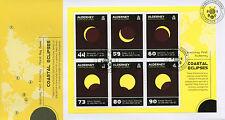 Alderney 2017 FDC costeras solar de los eclipses 6 V M/S Cubierta Termocrómico sellos