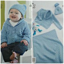 Knitting Pattern Bambino Coperta intrecciate Giacca E cappello DK King Cole 3513
