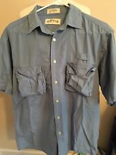 (O21) Men's Orvis Medium Blue Button Up Short Sleeve Fishing Shirt