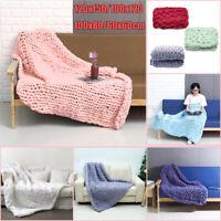 "40x47"" Warm Handmade Luxury Chunky Knit Blanket Wool Thick Yarn Knitted Throw"