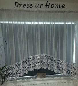 Amazing Ready Made White Voile Net Curtain 30 cm Guipure Lace  Firany