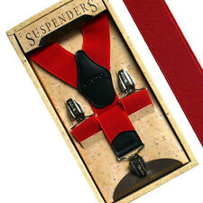 Men Women Elastic Suspenders Y-Shape Clip-on Adjustable Retro Solid Braces RED