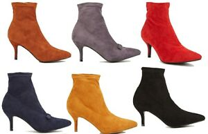 Womens Ankle Boots Low Mid Kitten Heels Ladies Pointy Slip-on Faux Suede Boots