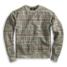 RRL Ralph Lauren Fair Isle Crewneck Pullover Cotton Sweater Men's Large L Gray
