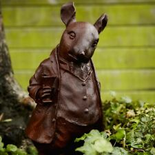 Cast Iron Mr. Ratty Woodland Creature Statue - Ratty With Cup Home Garden Decor