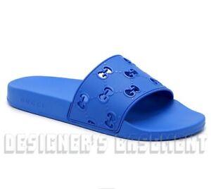 GUCCI blue 10 rubber GG Cutout PURSUIT slides FLIP-FLOP sandals NIB Authent $350