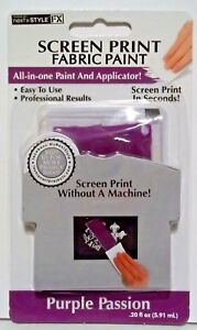 Clearance  Screens Print All-in-One Fabric Paint and Applicator  Purple  NIP