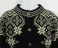 Dale of Norway Cardigan Sweater Jacket Black Ivory Snowflake Med Wool Fair Isle