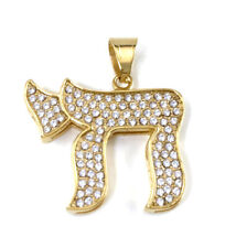 Gold Large Jewish symbol Stainless steel Hebrew Life Sign Charm Chai Pendant
