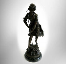 Auguste Moreau bronze statue of young peasant girl - France